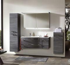 Marlin Motion Set-Meubles de salle de bain avec armoire de toilette, éclairage LED, vasque à gauche, 120 cm