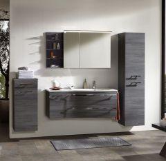Marlin Motion Set-Meubles de salle de bain avec armoire de toilette, éclairage LED, vasque à droite, 120 cm