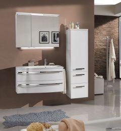 Marlin Motion Set-Meubles de salle de bain avec armoire de toilette, éclairage LED, vasque à droite, 90 cm