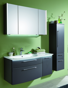 Puris Linea Set-Meubles de salle de bain avec plan de toilette et élément sous vasque, 100 cm