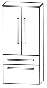 Puris Linea Armoire moyenne avec 2 portes tournantes et 2 tiroirs, 60 cm