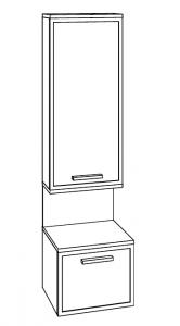 Marlin Christall Colonne avec dessus, 1 porte, 1 niche et 1 tiroir, 40 cm