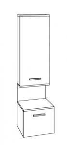 Marlin Christall Colonne avec 1 porte, 1 niche ouverte avec éclairage LED, 1 tiroir, 40 cm