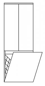 Pelipal Balto Colonne mi-hauteur avec 2 portes et 1 panier à linge, 45 cm