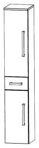 Puris Star Line Colonne avec 2 portes tournantes et 1 tiroir, 30 cm