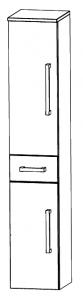 Puris Star Line Colonne avec 2 portes tournantes et 1 tiroir, 40 cm