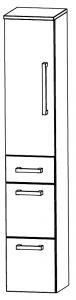 Puris Star Line Colonne avec 1 porte, 3 tiroirs, 40 cm