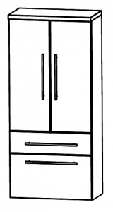 Puris Star Line Armoire moyenne avec 2 portes tournantes et 2 tiroirs, 60 cm