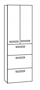 Marlin Motion Colonne haute, 2 portes, 3 tiroirs, 60 cm