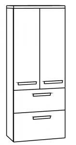 Marlin Motion Colonne avec dessus, 2 portes, 2 tiroirs, 60 cm