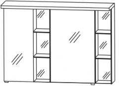 Puris Linea Armoire de toilette y compris un  panneau-plafond avec éclairage LED, petit miroir à gauche, 100 cm