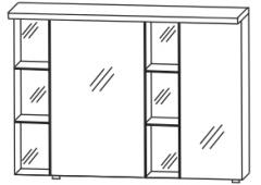 Puris Linea Armoire de toilette y compris panneau-plafond avec éclairage LED, petit miroir à droite, 100 cm