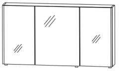 Puris Linea Set-Meubles de Sdb avec armoire de toilette, 2 baguettes latérales éclairées par LED, 130 cm