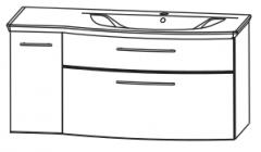 Puris Linea Set-Élément sous plan de toilette avec 2 tiroirs et une porte, 101 cm