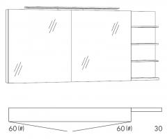 Marlin Motion Armoire de toilette, 2 portes à miroir, Porte 6 mm, double miroir collé, Éclairage LED, 150 cm