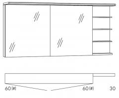 Marlin Motion Armoire de toilette, Étagère (!) à droite, Bandeau avec éclairage LED, 150 cm