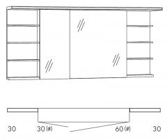 Marlin Motion Armoire de toilette, Étagère (!) à droite et à gauche, Bandeau avec éclairage LED, 150 cm