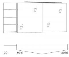 Marlin Motion Armoire de toilette, 2 portes à miroir, Éclairage de fixation LED, 150 cm