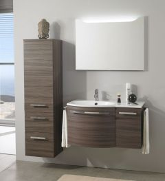 Marlin 3090 Set-Meubles de bain avec panneau de miroir y compr. éclairage, plan de dépose à droite, 90 cm