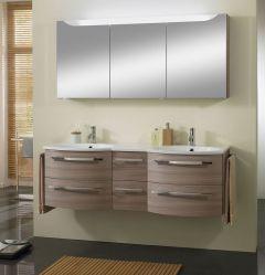Marlin 3090 Set-Meubles de salle de bains avec double vasque, armoire de toilette y compr. éclairage LED, 150 cm