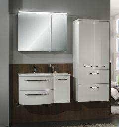 Marlin 3090 Set-Meubles de salle de bains avec armoire de toilette, applique LED, plan de dépose à droite, 90 cm