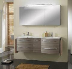 Marlin 3090 Set-meubles de salle de bains, double vasque, armoire de toilette y compr. applique LED, 150 cm
