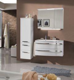 Marlin Motion Set-Meubles de salle de bain avec armoire de toilette, éclairage LED, vasque à gauche, 90 cm