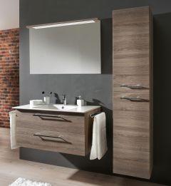 Marlin Christall Set-Meubles de salle de bain avec panneau de miroir y compris bandes lumineuses, 100 cm