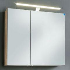 Marlin Christall Armoire de toilette, 2 portes à miroirs, Miroir intérieur, Éclairage LED, 80 cm