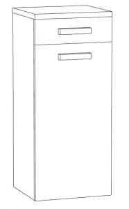 Marlin Christall Demi-colonne avec dessus 1 porte, 1 tiroir, 40 cm