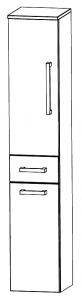 Puris Star Line Colonne avec bascule à linge, 1 porte tournante et 1 tiroir, 30 cm