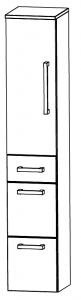 Puris Star Line Colonne avec 1 porte tournante, 3 tiroirs, 30 cm